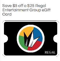 25 Regal Cinemas Digital Delivery Gift Card For 20 At