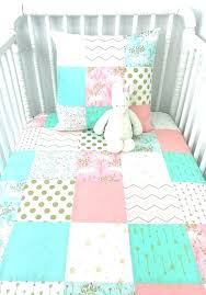 pink and gold baby bedding mint n