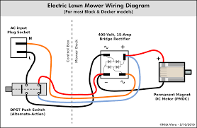 nick viera electric lawn mower wiring information the above wiring diagram applies to most black decker corded mowers the 4 lines running through the dashed line represent the wiring harness that runs
