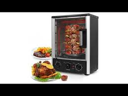 nutrichef upgraded multi function rotisserie oven vertical countertop oven with bake turkey thanksgiving broil roasting kebab rack with adjule