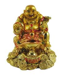 Odishabazaar Golden Laughing Buddha On Feng Shui Money Frog