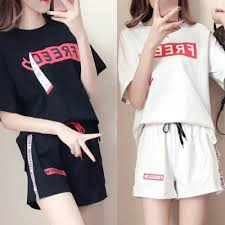 Pants Shirt Text Printed Loose Wear T Shirt With Short Pants White