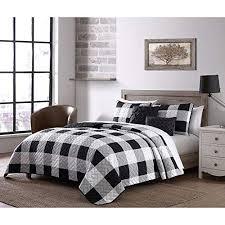 5 piece cottage black white quilt queen