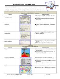 Informational Text Features Chart
