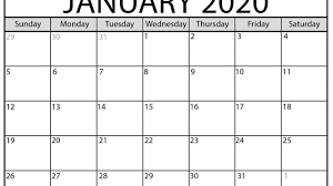 Word 2020 Calendars January 2020 Calendar Pdf Word Excel Printable Template