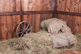 inside barn background. wood and hay background inside rural barn stock photo - 24423716