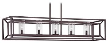 seeded glass linear chandelier with cage frame bronze 5 light