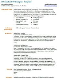Consultant Cv It Consultant Cv Example Learnist Org