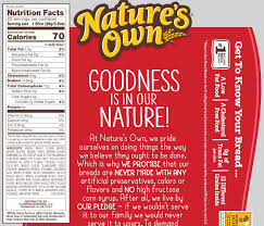 wheat bread from nature s own the updated nutrition facts label provides calories in a larger font to emphasize this information for