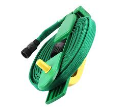 15m flat garden hose pipe hose reel with 4 ways spray nozzle outdoor watering hose 15m