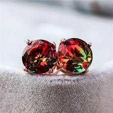 Charm Female <b>Big Pink</b> Rainbow Stud Earrings Elegant Silver ...