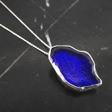 deep blue sea glass pendant
