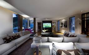 decorating a large living room. Elegant Modern Large Living Room With White L Shaped Sectional Sofa And A Huge Tv Decorating