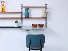 modular teak and metal shelving wall system with writing desk by a d dekker for tomado