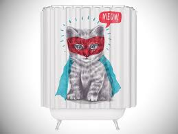 cool shower curtains. Cute Super Kitty Cat Shower Curtain - Unique Curtains Cool O