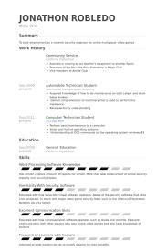 Community Service Resume