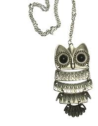 vintage owl necklace big retro pendant long silver chain best gift girls teens women