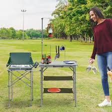 cad 76 99 outsunny fold up camp kitchen outdoor cooking table portable patio with lantern holder fold up picnic bbq backyard w canada 25093584718