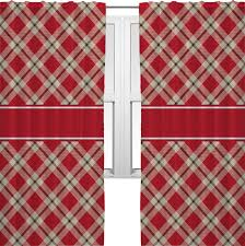 red tan plaid curtains 2 panels per set personalized