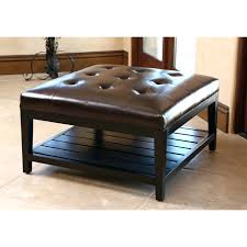 leather square coffee table dark brown ottoman by black