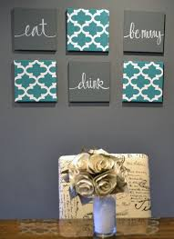 eat drink be merry wall art 6 pack canvas wall hangings painting moroccan fabric art dining room decor modern chic teal charcoal gray sign on food and drink canvas wall art with eat drink be merry wall art 6 pack canvas wall hangings painting