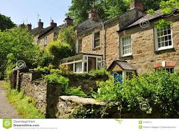 New Stone Cottage Gardens Traditional English Houses Cornwall England UK  Stock