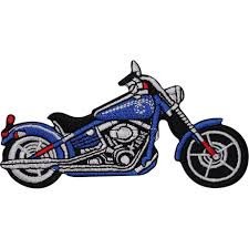 blue chopper motorcycle embroidered iron sew on patch motorbike jack