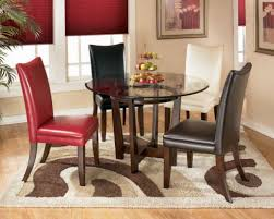 awesome round glass top for wood dining table with 4 piece multicolor faux leather dining chair