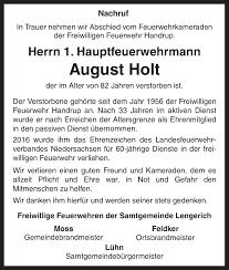 Traueranzeigen von August Holt | noz Trauerportal