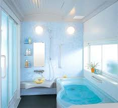 Small Blue Bathrooms Simple Blue Bathroom With Blue Wall Paint Two Wall Lamp Blue Edge