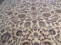 8 x 11 vintage machine made belgium rug synthetic wool kurdamir kashan ivory 5