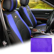 pu leather seat cushion covers front bucket blue w purple dash mat for auto 0
