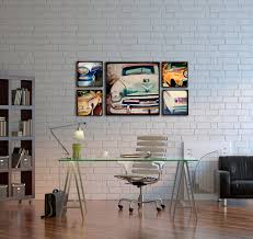 cool home office ideas retro. Cool Simple Modern Pop Art Home Office Design Exposed White Brick Wall Stylish American Style Metal Pedestal Glass Workstation Table Ideas Retro T