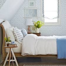 blue and white furniture. Classic Blue And White Bedroom, With Floral-print Wallpaper Wooden Bed Furniture