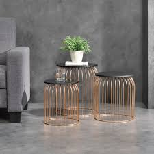 en casa set of 3 metal basket side table wire base coffee table