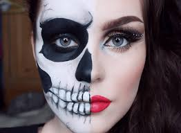 makeup half face skeleton