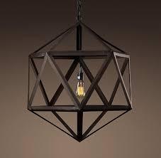 steel polyhedron um pendant outdoor lighting restoration hardware