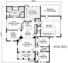images about House plans on Pinterest   Floor plans  Ranch    This square feet southern style bedroom  bath   garage stalls falls