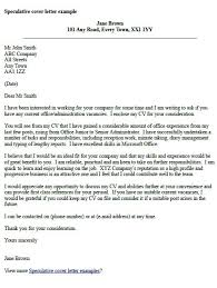 Resume Sample Speculative Job Application Cover Letter Resume