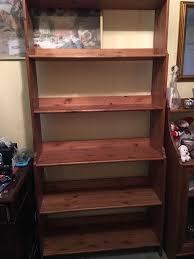 details about ikea leksvik tall bookcase shelving unit solid wood antique pine