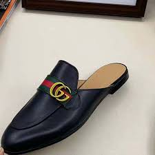 gucci men princetown leather slipper with double g in 1cm heel height black
