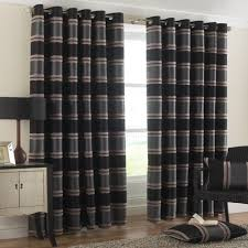 black contemporary chenille ring top lined curtains 90 x 90