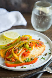 simple pan fried tilapia with lots of colorful bell peppers makes a quick and easy