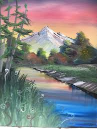 original oil painting 16inch by 20inch sunset mountain river stream rainbow magical landscape bob ross inspired