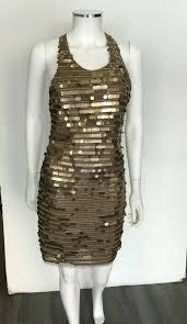 Bcbgmaxazria Bronze Xs Iman Combo Sequin Paillet Cross Back Short Cocktail Dress Size 0 Xs 69 Off Retail