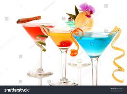 Light Cocktails Martini Cocktails Composition Vodka Light Rum Stock Photo