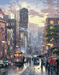new york street paintings by hand a busy day no frame home decoration oil painting pictures