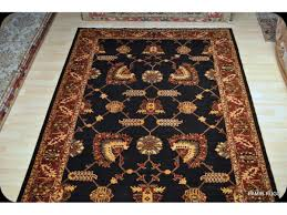 handmade black background 6 x 9 persian rug on