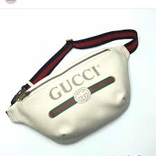 gucci handbags gucci print leather belt bag in white