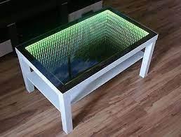 infinity mirror table window coffee table